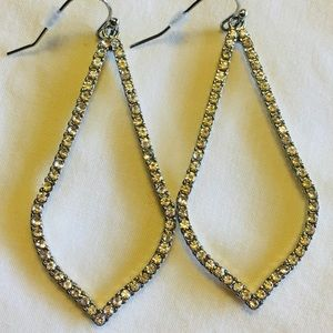 Silver Rhinestone Chandelier Earrings